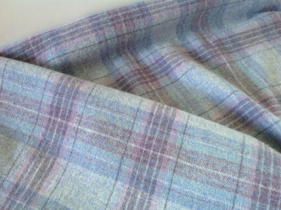 Heavenly Blue,  Wool Fabric for Rug Hooking and Applique, Select-a-Size, J973, Blue Plaid, Purple Blue Plaid