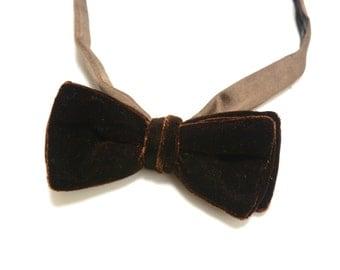 mens vintage bow tie 60s dark brown velvet bow tie adjustable bowtie brown groom 1960 menswear vintage mens neckwear
