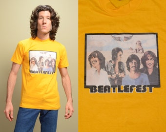 vintage Beatles t-shirt 70s Beatlefest tee shirt Heavy 100% cotton iron on 1970 Beatlemania rare collectible small S