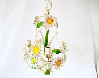 French Vintage metal chandelier Floral Multicolored Tole chandelier -light fixture-pendant-