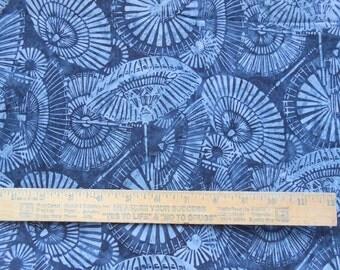 Marbled Black Gray Umbrella Parasol allover 1 Yard Bali Batik Quilting Cotton Fabric