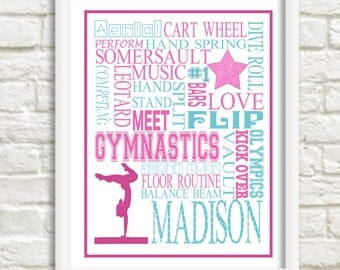 Personalized Gymnastics gift / gymnastic bedroom decor / Gymnastic Birthday gift / gymnastic / gymnastic wall art / gymnastic poster