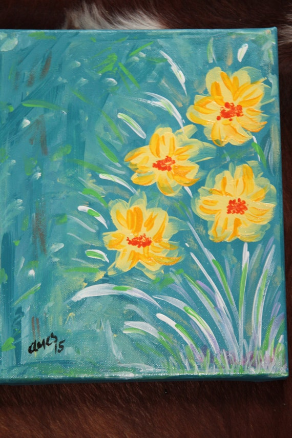 "Original Acrylic Painting of flowers, 10 x 8"", yellow with blue background"