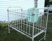 Antique Wrought Iron Baby Bed Crib- Carlisle Gettysburg- Hospital Bed- - Slide Down Rail