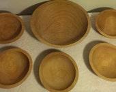 Vintage Handcrafted Set of Six Tree Spirit Natural HardWood Handturned Bowls Doughbowls Salad Bowls Rustic Primitive Wood Bowl