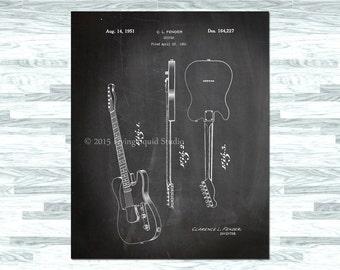 Fender Telecaster Guitar Patent Print Wall Art - Patent Art, Blue Print, Patent Poster, Patent Print