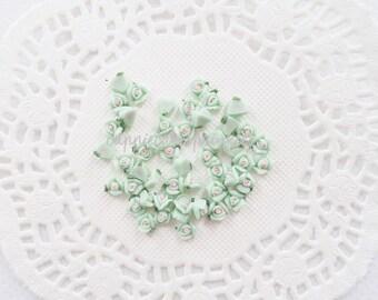 15pcs - Tiny Ceramic Alice Tea Time Mint Green Rose Decoden Cabochon (5mm) FL10018