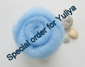 Special order for Yuliya. 2oz/ 56g light blue-gray, pastel blue needle felting  wool
