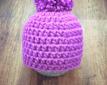 pink, purple baby pom pom hat, 0-3 month size baby hat, Newborn photo prop, baby shower, Christmas gift