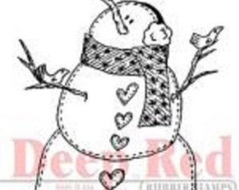 Deep Red Rubber Cling Stamp Snowman with Birds and Scarf