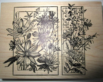 Magenta Wildflowers In Bloom Botanical Garden Wooden Rubber Stamp