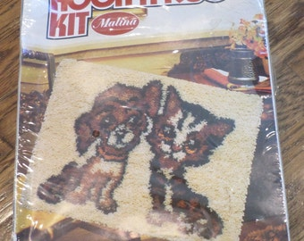 "Malina Hook A Rug Dog & Cat Vinage Style #25-13 20""X 27"" Latch Hooking new"