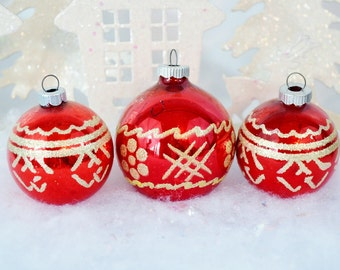 Red Shiny Brite Vintage Christmas Ornaments Stenciled Gold Glitter Geometric Set of 3 Three 1950's