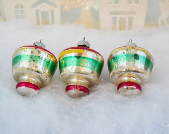 Vintage Christmas Ornaments Shiny Brite Tops Lanterns Striped Red Green Silver Set of 3 Three 1950's