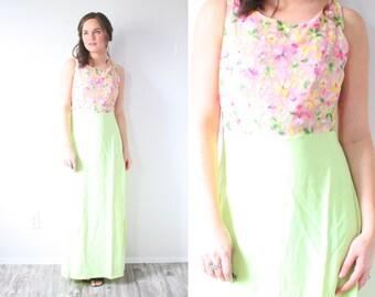 Vintage 60's floral pink and green dress // summer dress // sleeveless dress // open back dress // light green // floral // garden // 50's