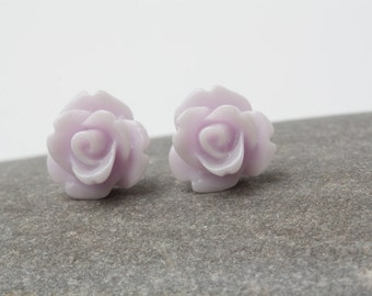 Lilac stud Earrings, Rose Stud, Flower studs earrings, Light purple studs, bridal party gift, purple wedding, Stocking stuffers