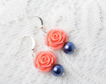 coral and navy rose earrings, Bridesmaid earrings, coral Navy wedding jewelry, Navy pearl earrings, Coral wedding, bridal party gift