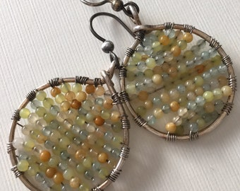 Silver hammered earrings with small multicolor jade beads - wire wrapped dangle earrings
