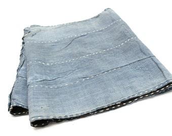 Japanese Antique Boro Textile. Indigo Ikat Kasuri Cotton with Sashiko (Ref: 127)