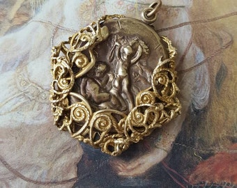 Vintage Beautiful Brass Art Deco Scrolled Cherub Pendant