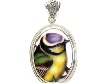 Broken China Jewelry Blue Tit Bird Sterling Oval Pendant