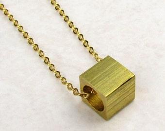 Minimalist Cube Necklace