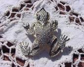 Vintage Brooch with Rhinestones on Textured Silver Tone Alien Frog Brooch