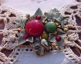 Changing Autumn Leaves Vintage Goldtone Brooch