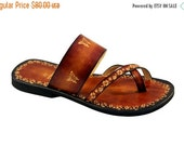 LAST SALE 20% OFF Comfy and Lovely Lady Slip On Flat Summer Hand painted Leather Sandals Burnished - Brigita