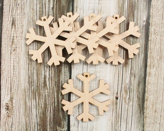 Christmas Snowflake Ornaments Wood Christmas Ornament DIY Unfinished Wood snowflake Ornamanets