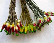 Vintage Czech Stamens MillineryJewellery Paris French Silk Flowers Floristry Doll Hat Trim Craft 24 Peps On Long Wire Stem, Three Colours