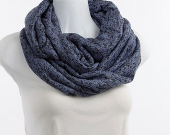 BLUE, Periwinkle DOUBLE Loop Sweater Tweed Knit Infinity Scarf with Black Throughout ~ K130-L1