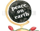 Peace On Earth globe watercolor