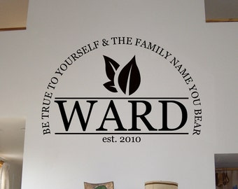Family Name Wall Decal with Established In Date Wall Art Quote Decal - WD0138