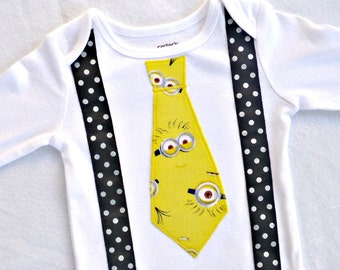 Minion Inspired Tie Bodysuit or tee shirt with Suspenders