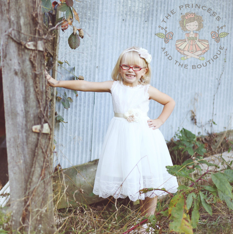 Vintage White Flower Girl Dress Baby Dress Vintage Flower