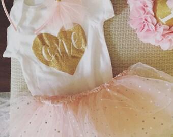 Glitter Heart/ One/ Birthday Onesie/ Girls First Birthday Onesie