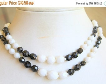 MOVING SALE Half Off Pretty Vintage Two Strand White and Pearlized Black Glass Beaded Necklace Made in Western Germany