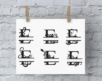 Split Letter Monogram - E - SVG Files for Silhouette - Monogram - Monogram Fonts - Digital Fonts - Cricut Monogram Fonts - Silhouette Files