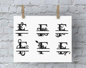 Split Letter Monogram - F - SVG Files for Silhouette - Monogram - Monogram Fonts - Digital Fonts - Cricut Monogram Fonts - Silhouette Files