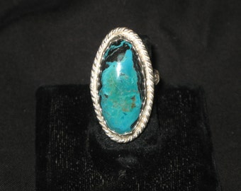 Brilliant Blue Turquoise Long Oval Ring size 8, Etsy