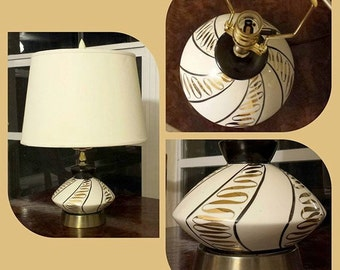 Gorgeous Ivory Black and Gold Mid Century Lamp with New Wiring