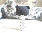 Grey teddy bear baby toy Babytoy Soft toy for baby Plush toy for baby Plushie Softie Polka dot