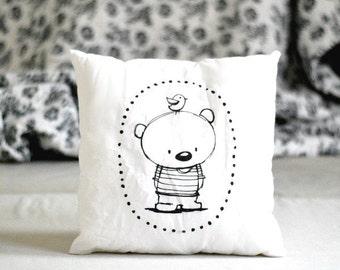 Stuffed pillow with teddy bear Decorative pillow Animal pillow Nursery decor Illustrated cushion Black white Scandinavian style