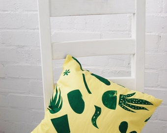 Square Cacti Cushion, Green Print on Yellow