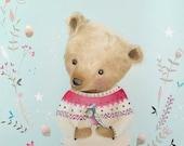 Teddy Bear Oil painting, Teddy Bear wall art decor, Teddy Bear illustration, Bear picture, gift for animal lover kids room wall art decor