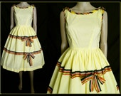 Vintage 1950s Dress//50s Dress//Yellow// Garden Party//New Look//Mod//Mad Man