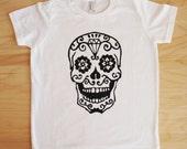 Sugar Skull Screen Printed Youth T-Shirt size 4