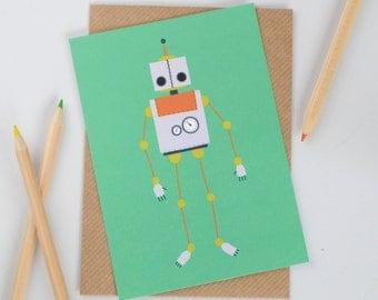 Robot Postcard, Turquoise and Grey Robot Illustration, Childrens Robot Postcard, Boys Mini Art Print, Grey and Orange Robot Mini Print