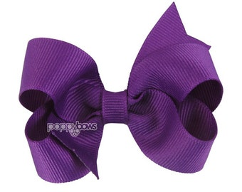 Royal Orchid Purple Hair Bow - Baby Toddler Girl - Solid Color 3 Inch Boutique Hair Bow on Alligator Clip Barrette Royal Orchid Purple